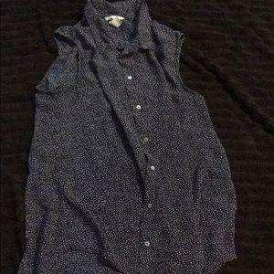 A Blue Sleeveless Top